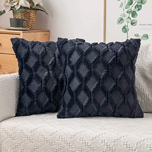 MIULEE Pack of 2 Cushion Cover Wool Throw Pillow Case Decorative Elegant With Plush Home for Sofa Bedroom Living Room Protector 45 x 45cm 18 x 18 Inch Navy