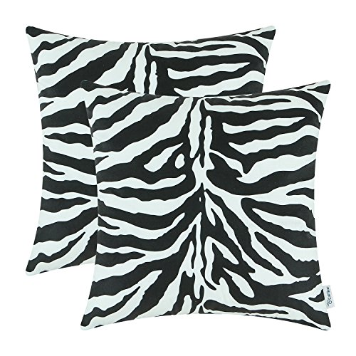 CaliTime Pack of 2 Cozy Fleece Throw Pillow Cases Covers for Couch Bed Sofa Zebra Striped Printed Both Sides 45cm x 45cm Black