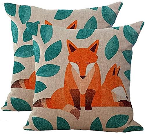 Set of 2 Hand-Painted Cute Fox Cartoon Cushion Cover Cotton Linen Throw Pillow Case Sham Square Pillowcase for Home Sofa Kitchen Chair Seat Office