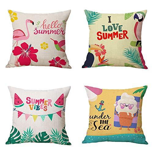KALEFUL Summer Cushion Covers - Summer Decorations 2021 New Beach Tropical Plant Flamingo Throw Pillowcase Polyester Linen Pillowcase Home Farmhouse Decor 18 x 18 Inch Set of 4