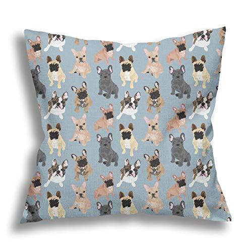 Flax Linen Throw Pillow Cover Cushion Cover french bulldog Home Office Living Room Sofa Car Decorative Square Pillowcase 18X18inch