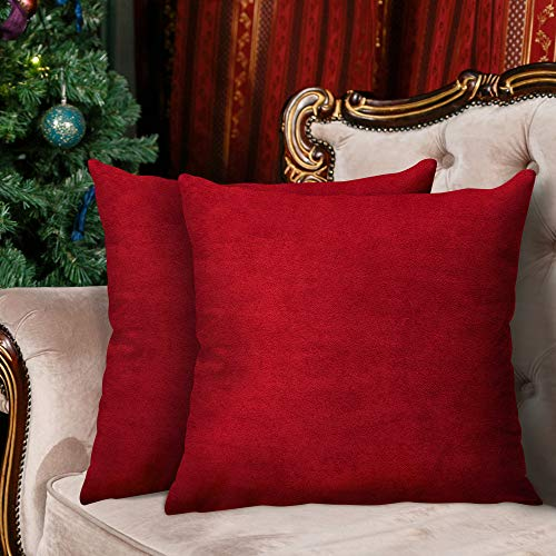 InnoGear 2 Packs Velvet Cushion Covers, 18'x18' (45 x 45 cm) Soft Throw Pillow Cases Decorative Square Pillowcases with Invisible Zipper for living Room Sofa Office Couch Bedroom (Wine Red)
