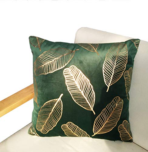 ZUODU Green Velvet Pillow Case Gold Foil Printing Cushion Covers Velvet Cushion Decorative 45 x 45 CM Free Combination Gift (gold leaf-peacock green)
