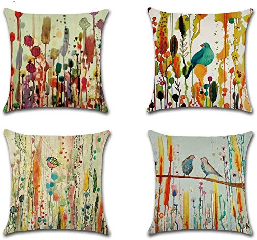 VIGVOG Set of 4 Decorative Throw Pillow Cover Flower Bird of Life Cushion Cover 18 X 18 Inches Home Decoration