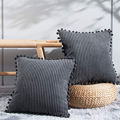 Topfinel Set of 2 Striped Corduroy Square Throw Pillow Case Soft Cushion Covers for Sofa Couch Bedroom Decorative Large Pillowcases with Pom Pom 24x24 Inch 60x60cm Grey