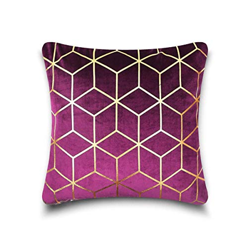 Gaveno Cavailia Luxury Designer Soft Square Metallic Cube Cushion Cover 17x17 Inch / 43x43 cms [ Pack of 4-Purple/Gold ], Polyester,