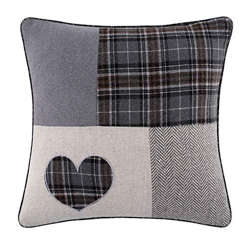 Red Rainbow Patchwork Tartan Heart Grey & Black 18 inch / 45 cm Cushion Cover