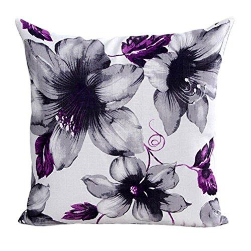"Winkey Square Throw Pillow Case, Newest Design Flowers Pattern Sofa Bed Home Decor Pillow Case Cushion Cover 45cm*45cm/18 * 18"" (Purple)"