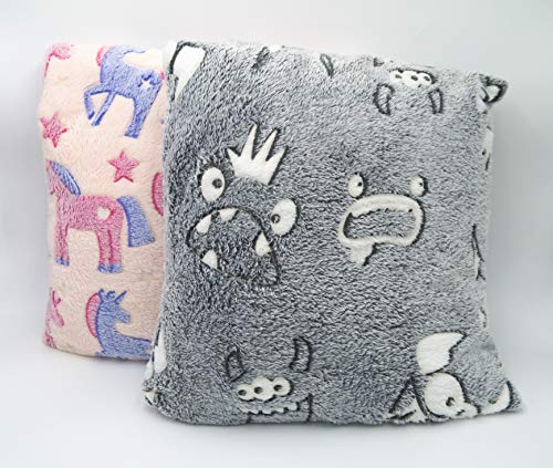 Lex's Linens Pack of 2 Kids Glow in the Dark Cushion Covers (Unicorn & Monster)