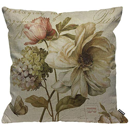 HGOD DESIGNS Cushion Cover Vintage Flower Print,Throw Pillow Case Home Decorative for Men/Women Living Room Bedroom Sofa Chair 18X18 Inch Pillowcase 45X45cm