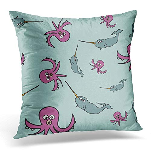 Awowee Cushion Cover 50x50cm/20x20inches Arts Cute Cartoon Characters Ocean Creatures Octopus and Narwhal Home Decor Throw Pillow Cover Square Pillowcase for Bed Sofa