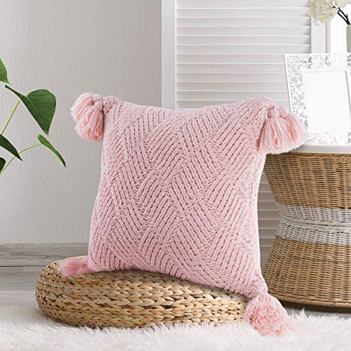 MYLUNE HOME Chenille Knit Cushion Cover Soft Throw Pillow Case Decortive Cover 45 * 45cm Pink