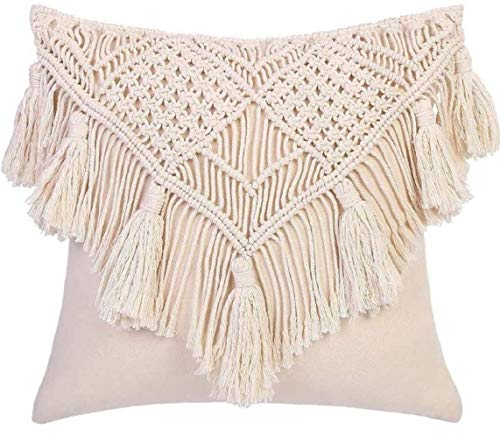 OMG-Deal 2 Pcs Pillow Covers/Throw 18 x 18 Inches Macrame Cushion Case Woven Boho for Bed Sofa Couch Bench Car Home Decor Comfy Square Pillow Cases with Tassels