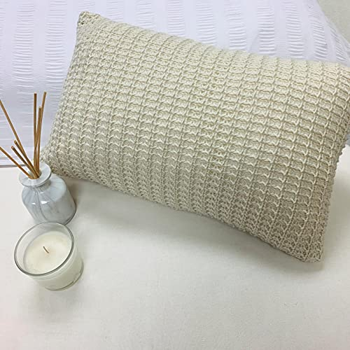 Pack of 4 Luxuriously Soft Knitted Cushion Knit Cover Only 30x50cm Unfilled - Biscuit Beige