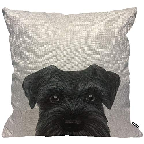 HGOD DESIGNS Cushion Cover Black Schnauzer Original Painting Dog Puppy,Throw Pillow Case Home Decorative for Men/Women Living Room Bedroom Sofa Chair 18X18 Inch Pillowcase 45X45cm