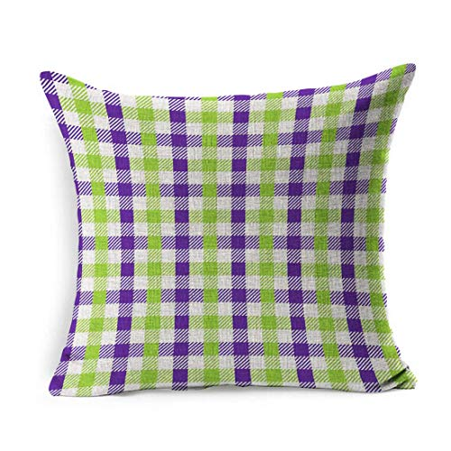 Linen Throw Pillow Cover Square Green Purple Celebration Multicolour Gingham Pattern Lime Unusual Abstract Check Checkered Chevron Pillowcase Home Decor Cushion Case 18x18 Inches