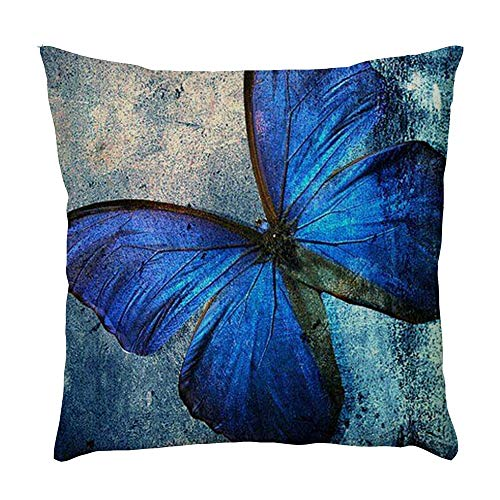 Watopi Butterfly Cushion Cover, Butterfly, Pillowcase, Vintage, 1 PC 45cm *45cm, for Sofa/Couch/Bed/Car, Home Decorative, (A)