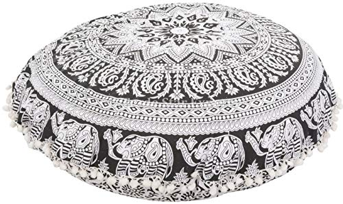 Trade Star Large Round Mandala Floor Cushions, Decorative Elephant Throw Pillowcases 32', Boho Outdoor Cushion Cover, Indian Pouf Ottoman, Pom Pom Roundie Pillow Sham (Pattern 1)