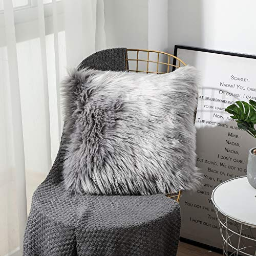 Sweetwill Fluffy Soft Square Pillow covers Faux Fur Throw Decorative Pillow Cover Plush Pillow Case Faux Fur Cushion Covers For Livingroom Sofa Bedroom Car (Grey, 50 x 50 cm)