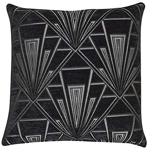 Art Deco Cushion Cover. Double Sided Luxury Velvet Chenille. Black and Silver Retro Design. 17'x17' Square Pillow. Geometric bold design. 20s and 30s style. Handmade in the UK.