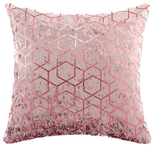 Red Rainbow Geometric Metallic Hexagon Luxury Crushed Velvet Cushion Cover (Pink, 18' x 18')