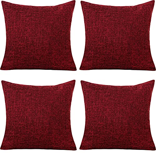 Gonove Cushion Cover,4 Pack 45×45cm Linen Cotton Pillowcase Vintage Style Square Throw Pillow Covers Decorative Cushion Covers for Sofa, Couch, Bed, Bench