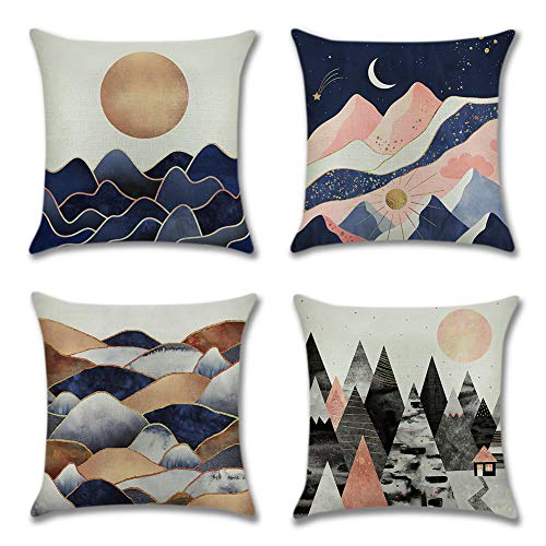 Artscope Pack of 4 Decorative Soft Polyester Linen Cushion Covers 45 x 45 cm Square Throw Pillow Covers Pillowcases for Sofa Couch Living Room (Mountain)