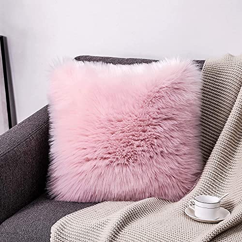 HEQUN cushion cover, Sheepskin pillowcase,Artificial Wool Soft Plush Sofa Pillow Case Cushion Cover for sofa, holiday decorative, wedding, home decorative, office (Pink)