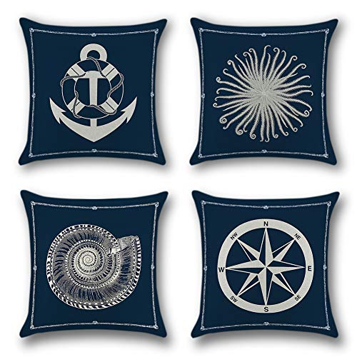 Artscope 4 Pack Home Decorative Cushion Covers, 18 x 18 Inch Square Pillowcases Polyester Linen Throw Pillow Covers for Sofa Car, 45 x 45 cm (Sailing trip)