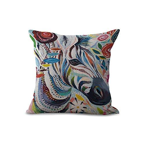Cushion Covers Pads 18x18 inch/45cmx45cm Animal Painting Creative Elk Cow Zebra Cat Elephant Owl Grey Cotton Linen Cushion Cover For Sofa Home Shop Bar Club Car Cat Dog Bed Decor MY-A1094-01 (#05)