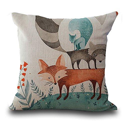 Cushion Covers 45cmx45cm /18 x 18 Animal Series Children Cartoon Hand-painted Fox Pattern Cute Fox Grey Beige Cotton Linen Cushion Cover