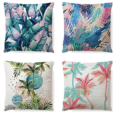 Outdoor Waterproof Throw Pillow Covers, Tropical Plants Waterproof Cushion Cover, Waterproof Cushion Case for Outdoor Patio Garden Blench Tent Living Room and Sofa - 18 x 18 Inches - Green
