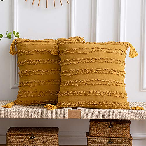 DEZENE Yellow Decorative Pillow Cases: 2 Pack 20x20 Inch(50x50cm) Boho Striped Cotton Linen Square Cushion Covers with Tassels for Farmhouse Couch Sofa Chair