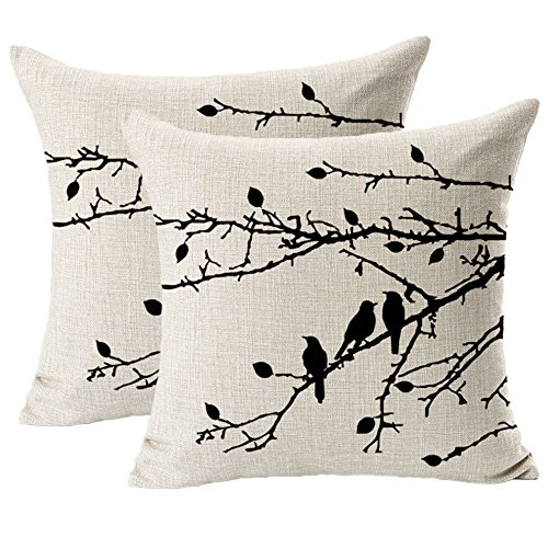 Jahosin Set of 2 Throw Pillow Cases Shell Vintage Birds Branches, Black Decorative Cushion Cover 45x45CM(Black Branches)