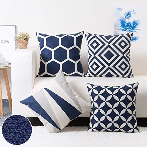Modern Homes 100% Cotton Dark Blue Cushion Covers 18x18 inches Cushion Cases Sofa, Bed; Decorative Throw Pillow Covers 18x18 (Dark Blue, Set of 4)