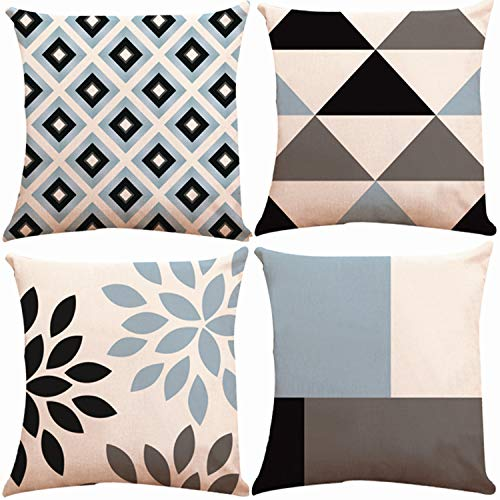 Munzong Geometric Throw Pillow Covers 20 x 20 Inch Double Side Design, Set of 4 Soft Indoor Outdoor Pillow Case Cushion Cover for Car Sofa Home Decor (Navy Aqua Beige Triangle Check,Mix & Match)