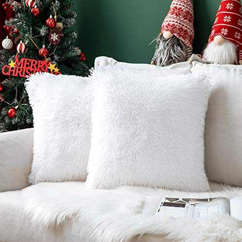 MIULEE Pack of 2 Faux Fur Throw Pillow Cover Fluffy Soft Decorative Square Pillow covers Plush Case Faux Fur Cushion Covers For Livingroom Sofa Bedroom 16x16 Inch White