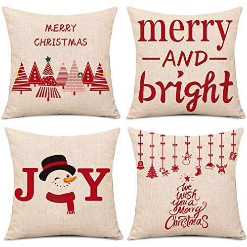 Whaline 4 Pieces Red Patterns Christmas Pillow Case Christmas Tree Snowman Xmas Pendants Cushion Cover, Cotton Linen Sofa Bed Throw Cushion Cover Decoration (18' x 18')