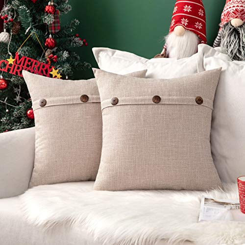MIULEE Faux Linen Cushion Cover Button Cross Shape Square Throw Pillow Case Home for Sofa Chair Couch Bedroom Decorative Pillowcase Pack of 2 Cream 16 x 16 inch 40cm x 40cm