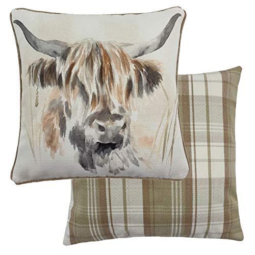 Evans Lichfield Watercolour Highland Cow Cushion Cover, Multi, 43 x 43cm