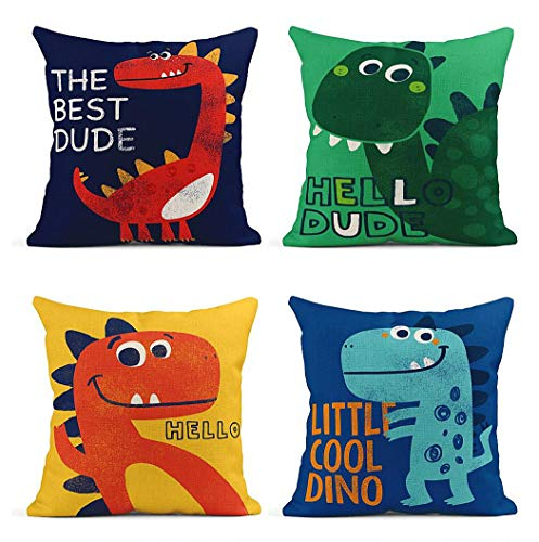 ArtSocket Set of 4 Throw Pillow Covers Colorful Dino Little Dinosaur Cute Drawn As Drawing Green Kids Decor Linen Pillow Cases Home Decorative Square 18x18 Inches Pillowcases