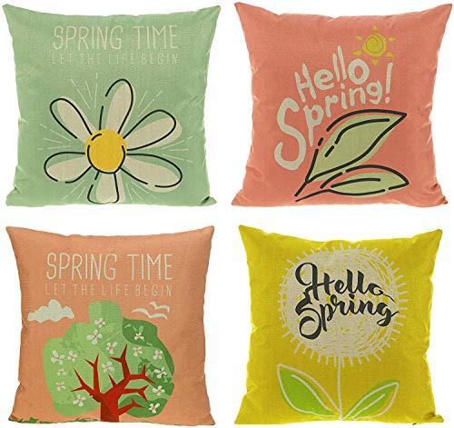 All Smiles Bench Pillows Outdoor Patio Cushion Garden Spring Flowers Throw Pillow Cases Summer Farmhouse Home Decor Linen Cushion Covers 18' X 18' Set of 4 for Sofa, Yellow, Green, Colorful