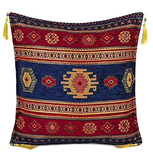 Hand-woven Kilim Cushion Cover Turkish Moroccan Style Traditional Vintage Cushion Cover Maroon and Navy Design 45cm x 45cm