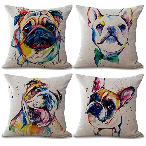 Freeas Set of 4 Dog Pillow Cases, Throw Cushion Cover Cotton Linen Pillowcase Home Decoration,45x45cm