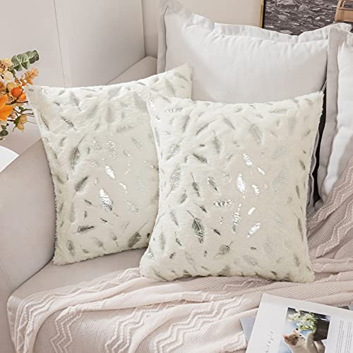 MIULEE Faux Fur Cushion Covers Silver Feather Throw Pillow Covers Fluffy Soft Lovely Decorative Square Pillowcase Plush Case for Livingroom Sofa Bedroom 18 x 18 Inches 45 x 45 cm White Pack of 2