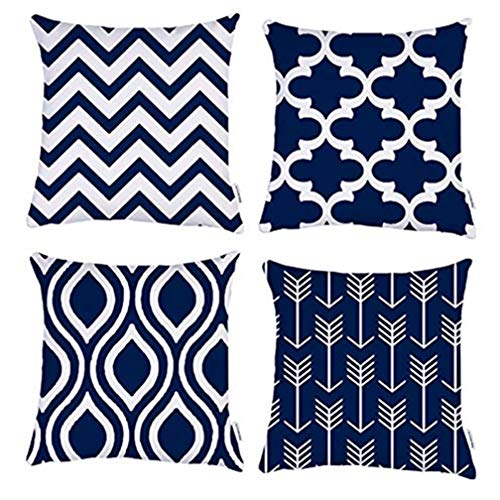 TIDWIACE® Navy Blue Cushion Cover Cotton and linen Decorative Square Throw Pillow Cases for Sofa Bedroom 18 x 18 Inch With Invisible Zipper 45 x 45 cm,Set of 4
