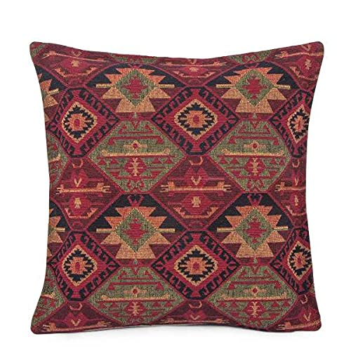 Hand-woven Kilim Cushion Cover Turkish Moroccan Style Traditional Vintage Cushion Cover Authentic Maroon Design 45cm x 45cm
