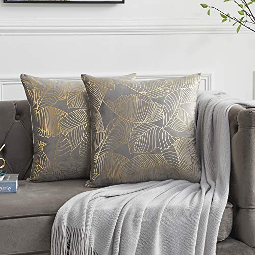 OMMATO Grey Velvet Cushion Covers 50cm x 50cm Square Gold Leaves Decorative Throw Pillow Covers 20 x 20 inch for Sofa Bedroom Living Room Pack of 2