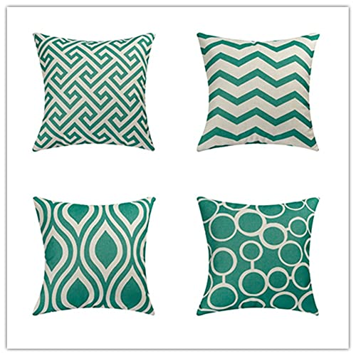HYOOPL Throw Pillow Cases pack of 4 Cushion Covers 35x35cm 14x14 Inch Cotton Linen Square Decorative Pillowcases for Livingroom Sofa Bedroom with Invisible Zipper, Geometry A3894
