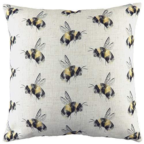 Evans Lichfield Bee Happy Repeat Cushion Cover, White, 43 x 43cm